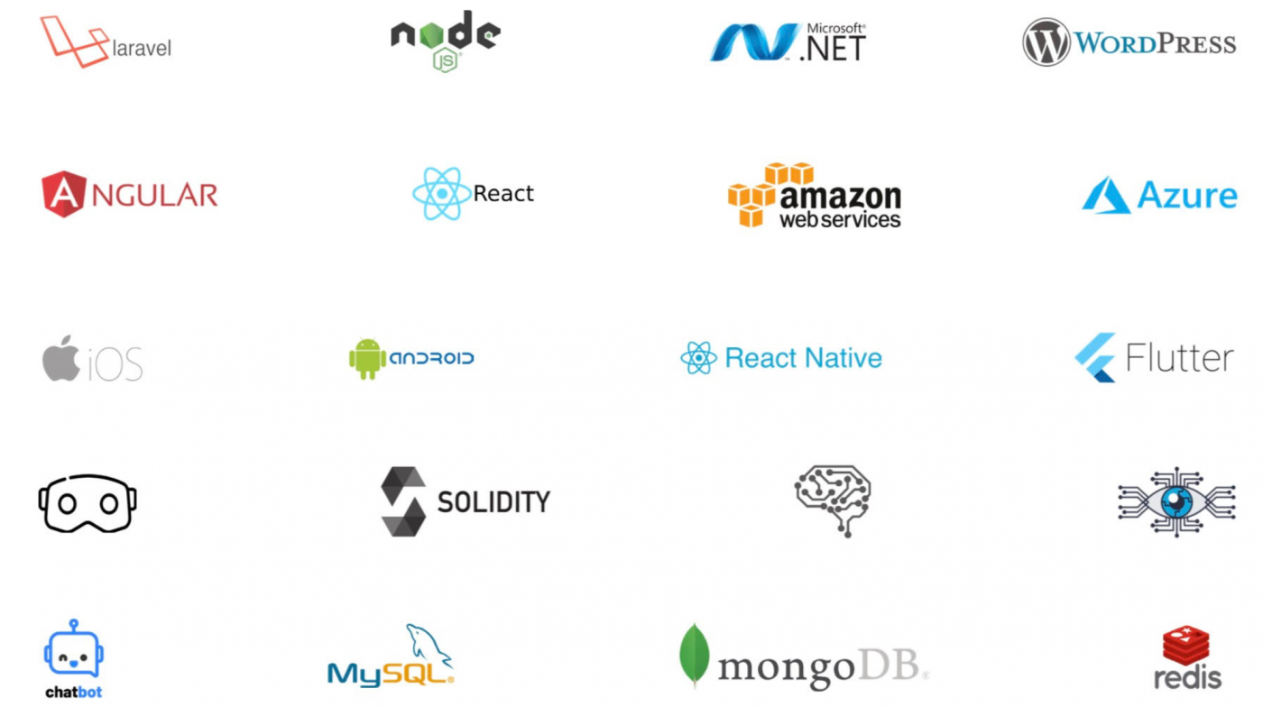 Laravel nodejs microsoft.net wordpress angular react native amazon aws azure ios android flutter solidity mysql chatbot mongodb redis hyperledger facbric